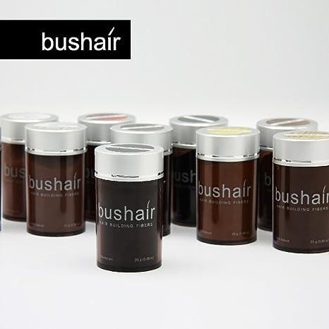 bushair - Polvo de fibras capilares sin componentes animales para ocultar la calvicie y aportar volumen