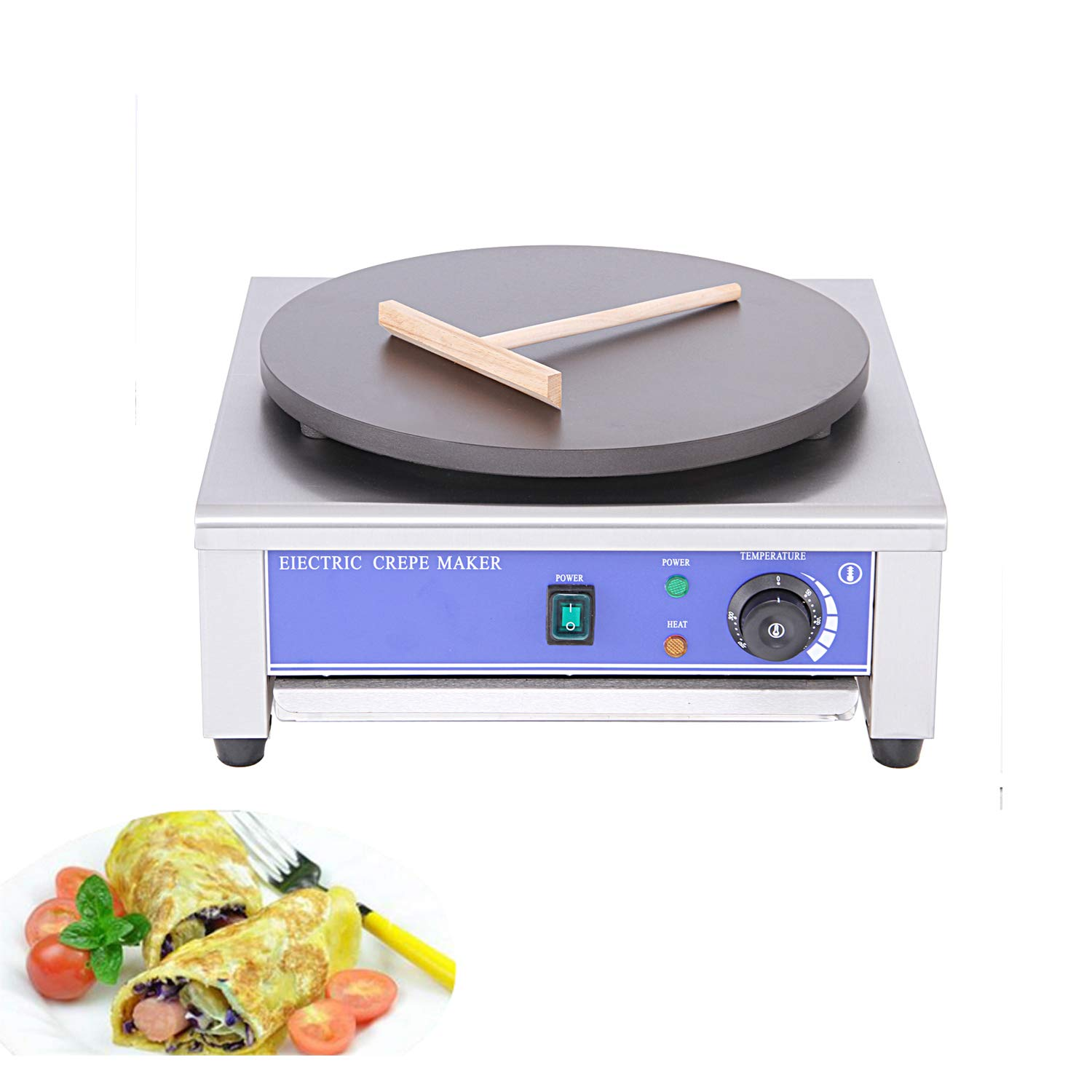Proshopping 16'' Commercial Electric Crepe Maker, Large Pancakes Griddle Machine Stainless steel, Non Stick Crepe Pan - with Batter Spreader, 110V- for Blintzes, Eggs, Pancakes, Tortilla by Proshopping