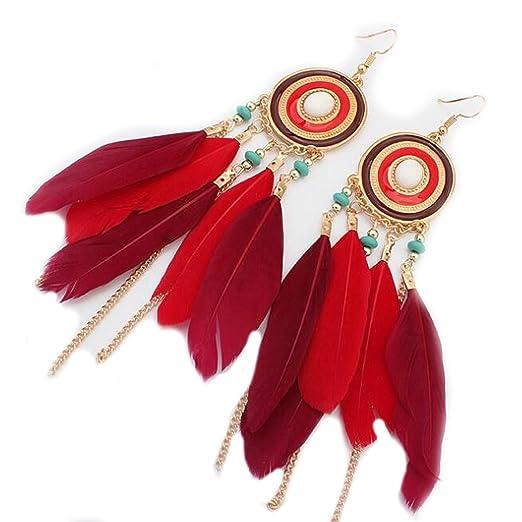 00f87edc77aee Jovono Womens Feather Drop Dangle Earrings,Tassel Vintage Retro Bohemian  Earrings for Women Girls
