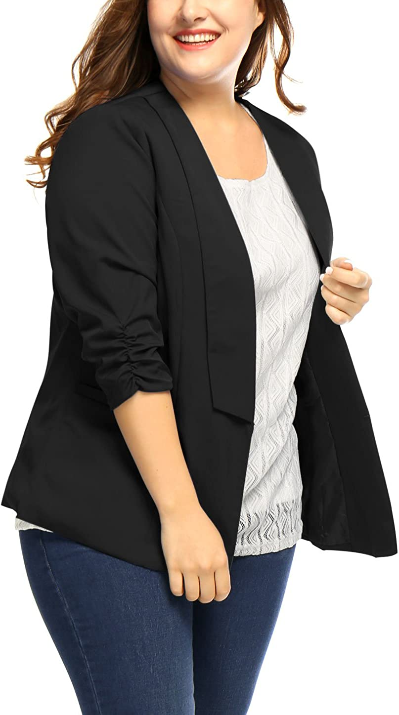uxcell Womens Plus Size 3//4 Sleeves Shawl Collar Casual Blazer
