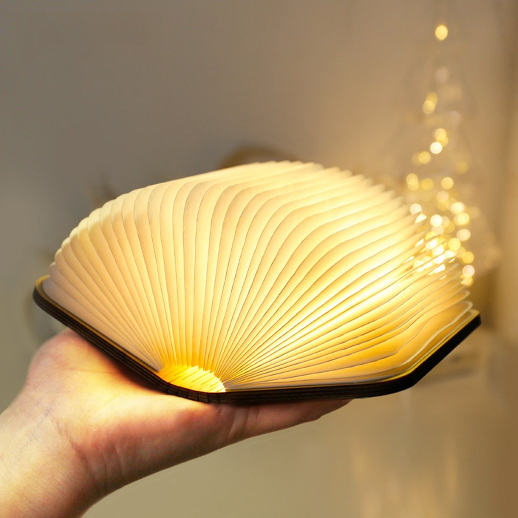 Night Lights Pocket Book lamp Folding LED Wooden Mini Book lamp Creative Gift Mini Night Light Folding Page lamp