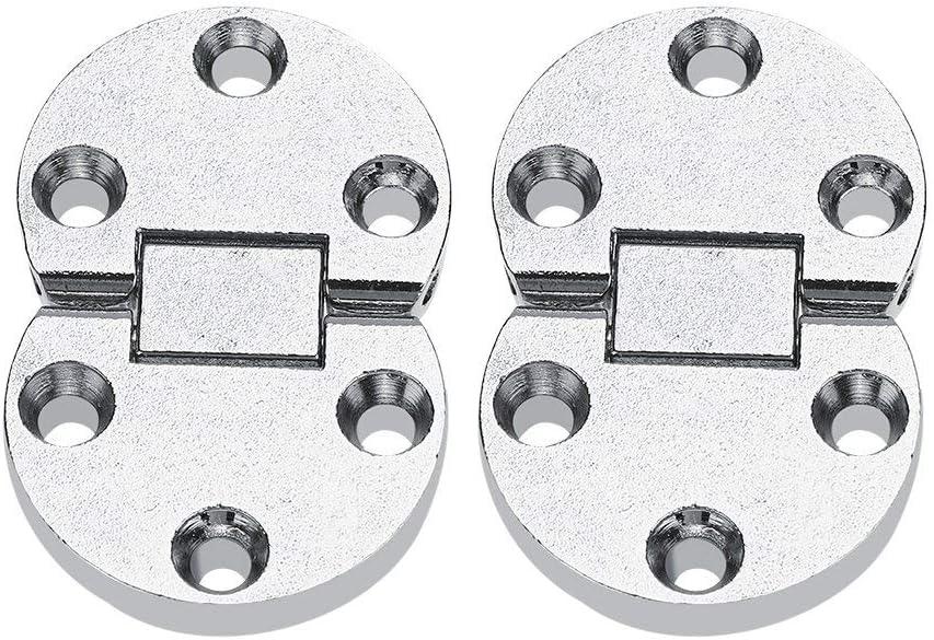 Fdit 2 piezas de aleación de zinc con bisagras redondas para máquina de coser de casa con tapa y bisagra para puerta de armario, bisagras para muebles, muebles ovalados