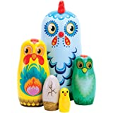 Bits and Pieces - Hazel & Friends Nesting Chickens - Hand Painted Wooden Nesting Dolls - Matryoshka - Set of 5 Dolls…
