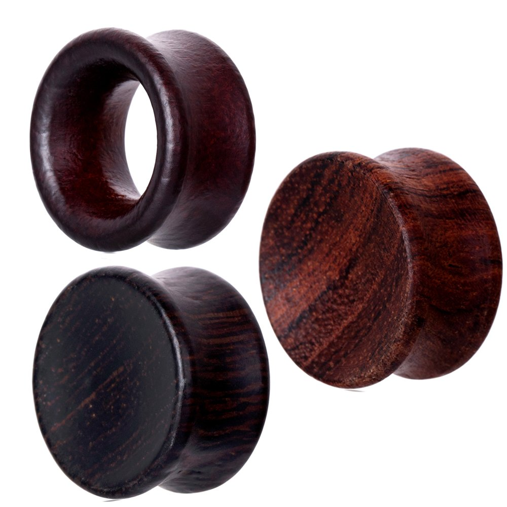 TIANCI FBYJS 3 Pairs Concavity Wood Wooden Ear Gauges Ear Plugs Expander Tunnels Ear Piercing Black Brown (20mm=3/4'') by TIANCI FBYJS