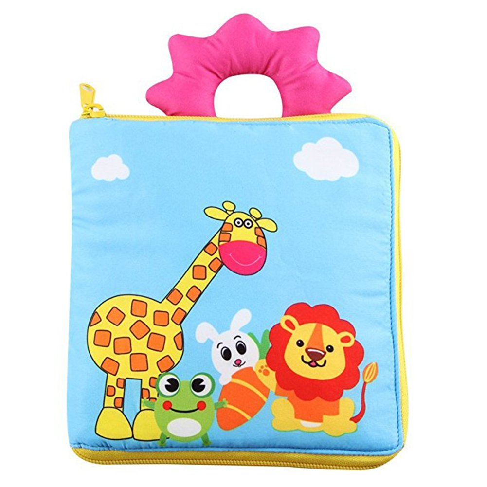 DDbabies Activity Book,Soft Book Babies Baby Book Educational Toy Babies Kids Baby Books Boy Girl Cloth Book (Blue)