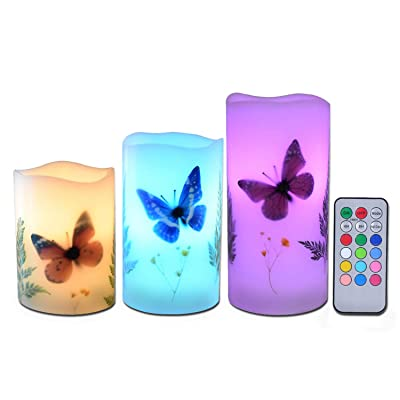 """Candles Set of 3 Flameless 4"""" 5"""" 6"""" Unscented Tealight Butterfly Flower Plants Decor Real Wax Pillar Candle LED Lights 12 Color Changing 4H 8H Timer Remote Control AAA Batteries Operated: Home & Kitchen"""