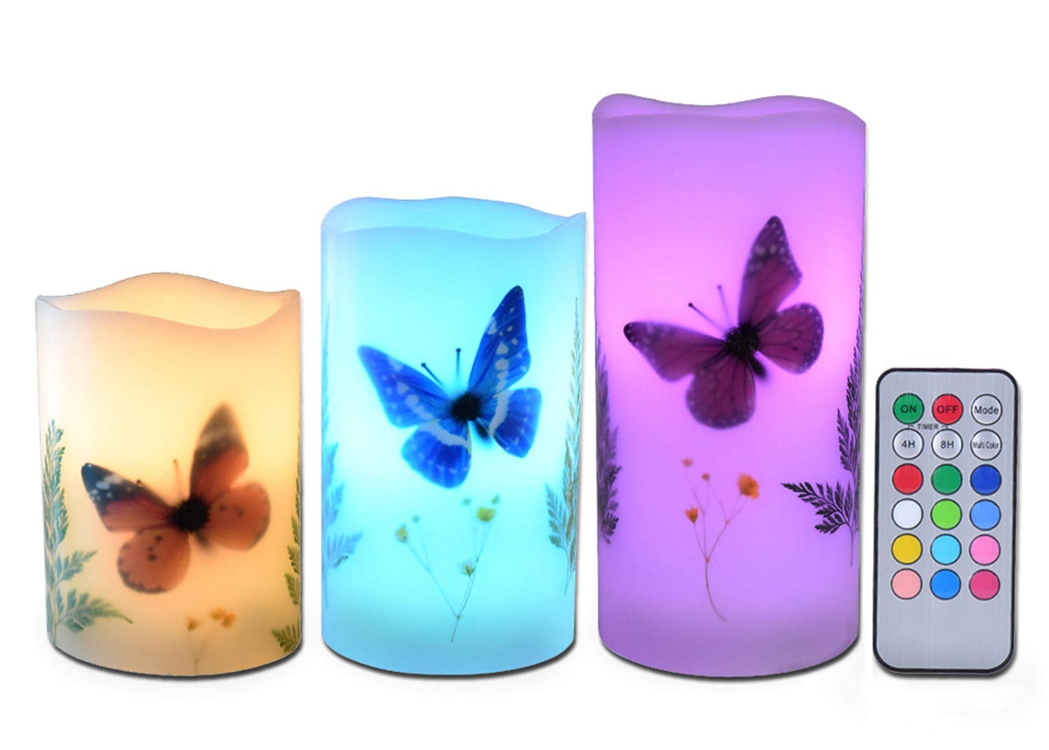 """Candles Set of 3 Flameless 4"""" 5"""" 6"""" Unscented Tealight Butterfly Flower Plants Decor Real Wax Pillar Candle LED Lights 12 Color Changing 4H 8H Timer Remote Control AAA Batteries Operated"""