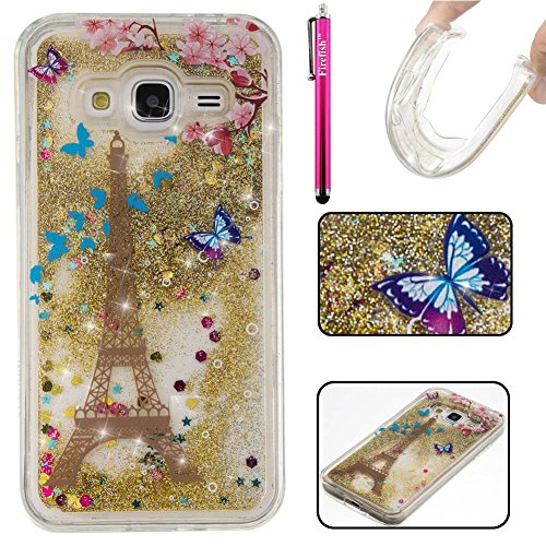 Galaxy J310 / J3 Case, Firefish Bling 3D Sparkle Floating Dynamic Flowing Shockproof [Flexible] Gel Silicone [No Slip] Back Cover for Samsung Galaxy J310 / J3 -Tower