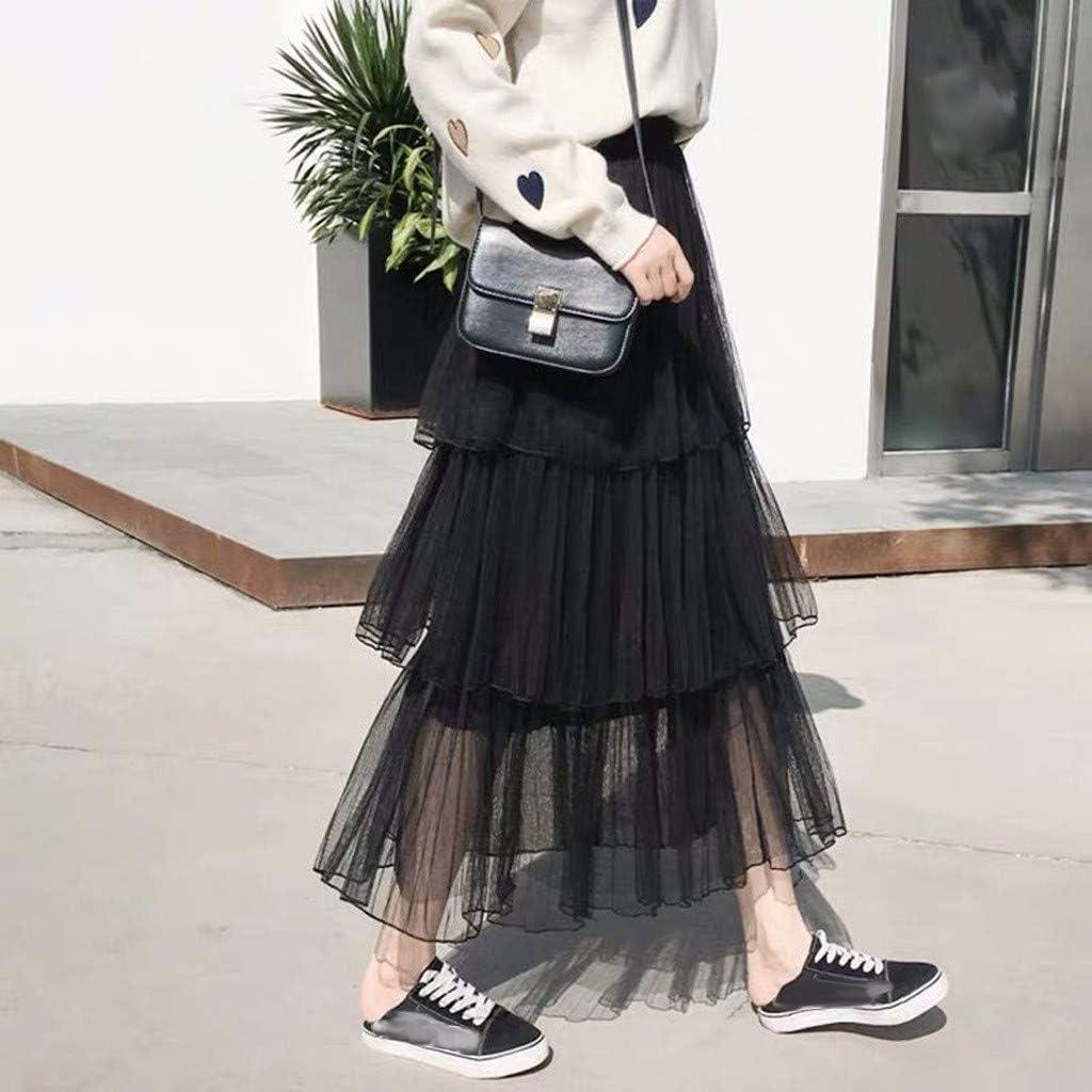 iHAZA Women Solid Mesh Fold A-Line Casual Cake Dress Ruffles Pleated Long Tutu Tulle Skirt
