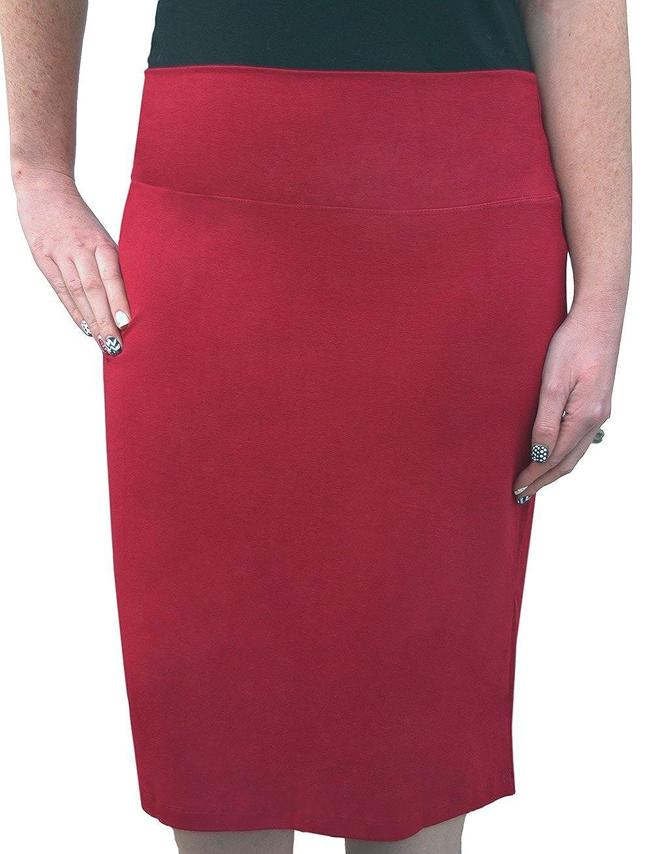 Kosher Casual Kids Big Girls' Knee Length Stretch Pencil Skirt In Cotton Lycra 1434-S-BK-$P
