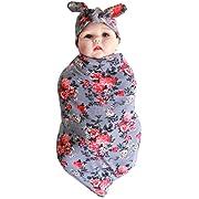 Quest Sweet Newborn Baby Swaddle Blanket Headband Value Set,Receiving Blankets