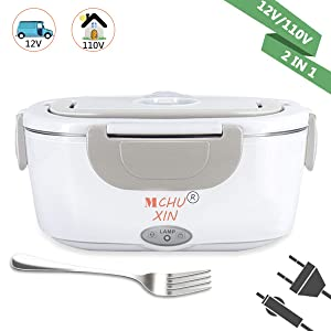 Electric Lunch Box 2 in 1,Car and Home Use Portable Lunch Heater, Removable Stainless Steel Container Food Grade Material 110V and 12V (Gray)