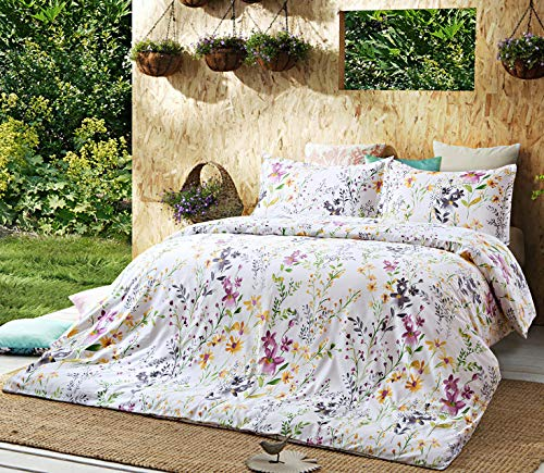 Eikei Home Windflower Bedding Bloomfield Floral Duvet Cover 3pc Set Cotton Botanical Nature Vines Branches Birds Butterflies Multicolored Flowers (Oversized King, White)