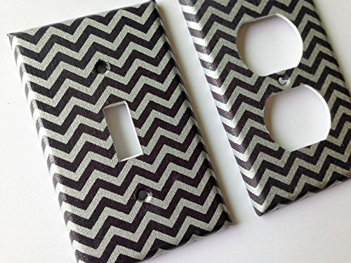 Hollywood Switchplate - Grey and Metallic Silver Chevron Stripes Light Switch Plate Cover - Various Size Switchplates Offered
