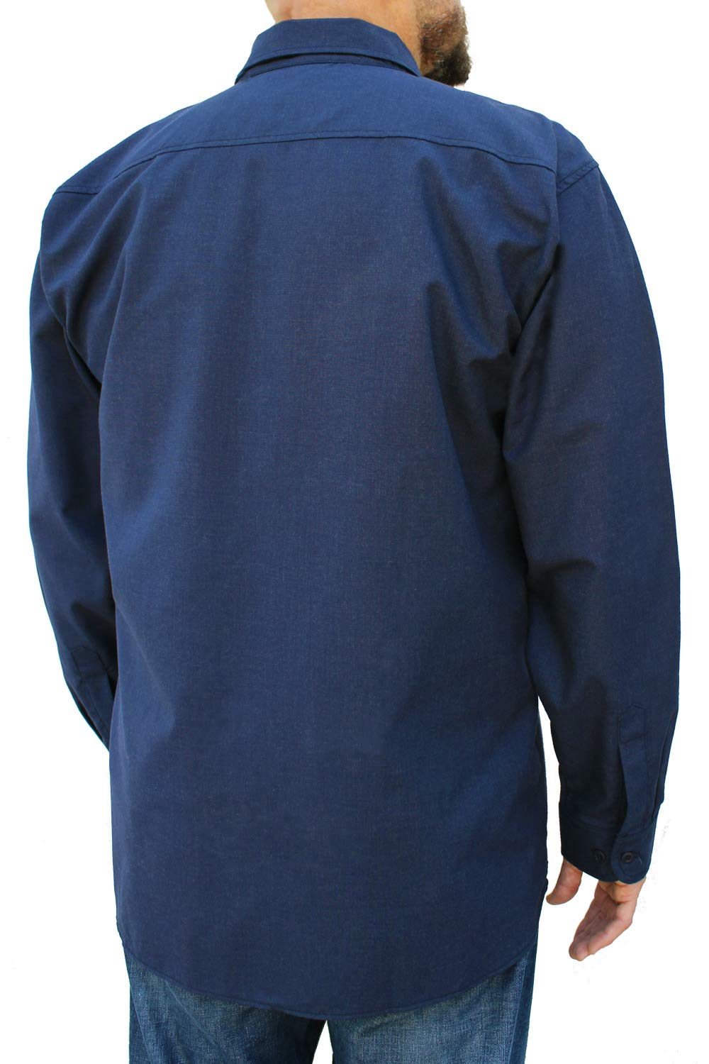 Benchmark FR Silver Bullet, 5.1 oz Ultra Lightweight FR Shirt, NPFA 2112 & CAT 2, Moisture Wicking, Men's FRC with 9 Cal rating, Made in USA, Advanced FR Materials, Navy, Large by Benchmark FR (Image #5)