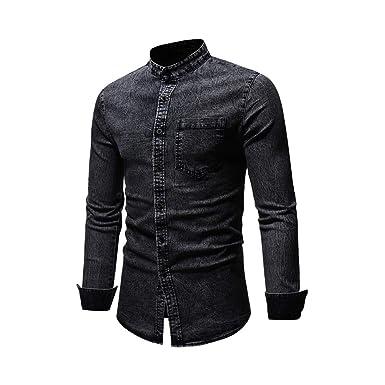 43d8871ba40 Viloong Men s Casual Long Sleeve Button Down Jeans Shirts Fashion Slim fit  Denim Shirt at Amazon Men s Clothing store