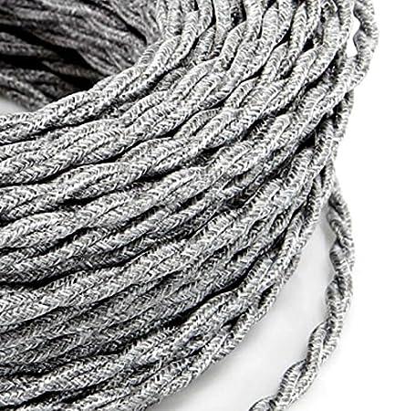 Câble électrique tressé tresse style vintage avec revêtement en tissu coloré fils brut Canvas Lin Gris Clair section 3x 0,75pour lustres, lampes, abat jour, Design. Fabriqué en Italie MeToo Design