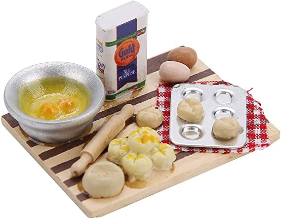 1:12~Dollhouse Miniature Breakfast Set Bread Basket Doll House Food Accessories