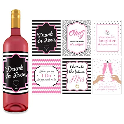 bachelorette wedding wine bottle labels 4 x 5 6 pack bridal