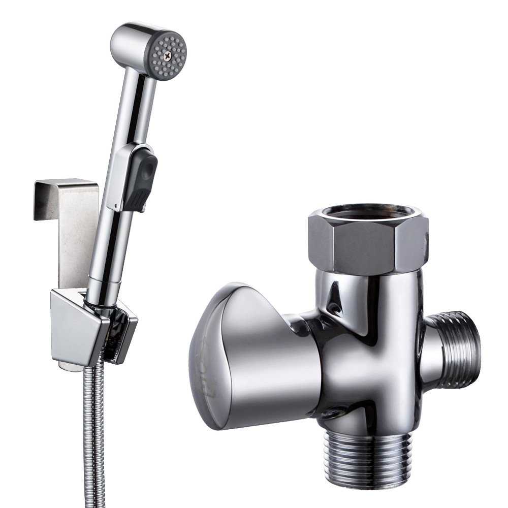KES Toilet Handheld Bidet Sprayer With TAdapter Valve Hose And - Hand held shower faucet attachment