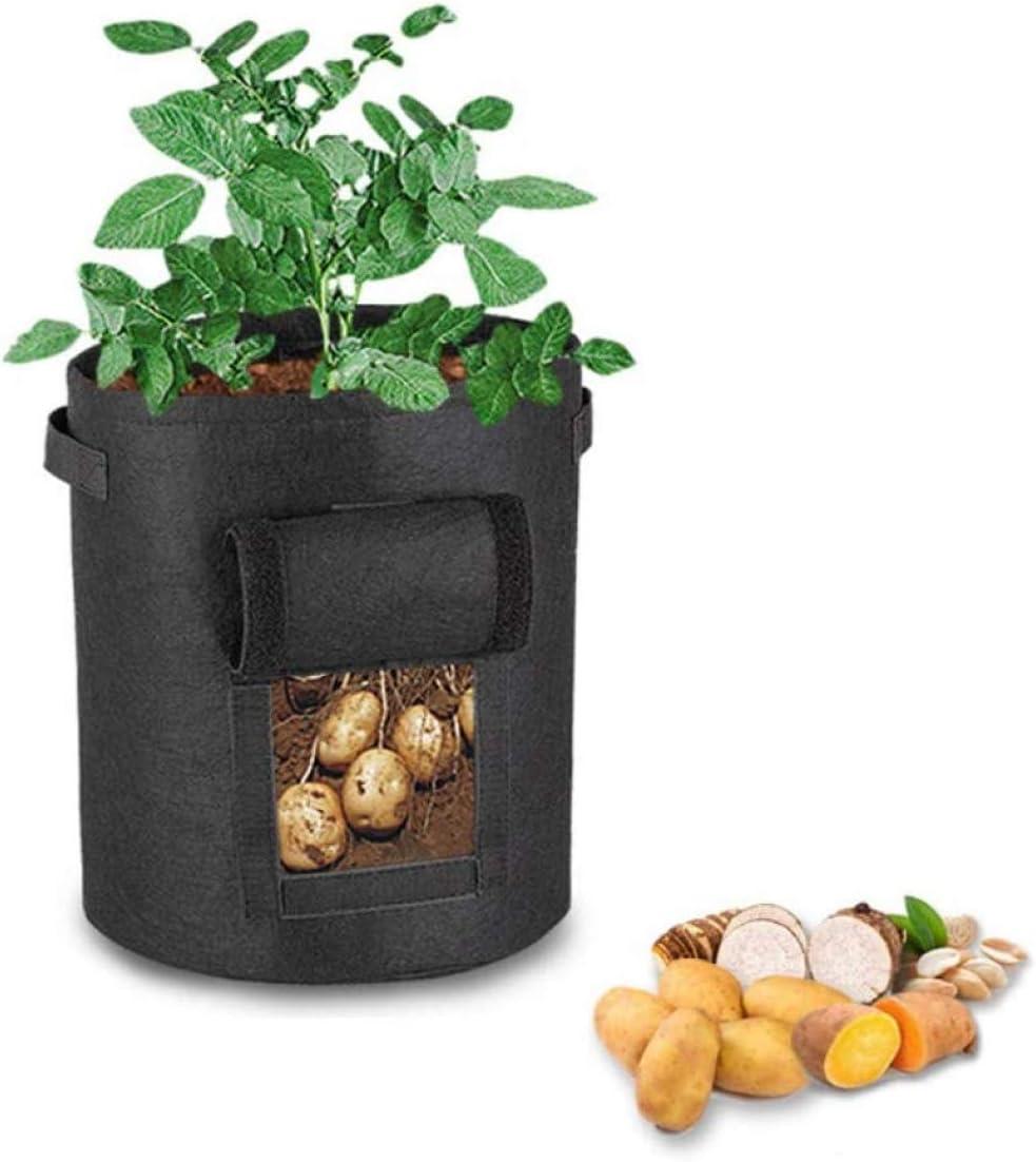 Bolsa Para Plantar Patatas, Cubo Para Plantar Patatas, Bolsa Para El Cultivo De Plantas Bolsa Para Plantar Patatas, Con Tapa Abatible Y Asa, Para Patatas, Tomates, Zanahorias (negro)