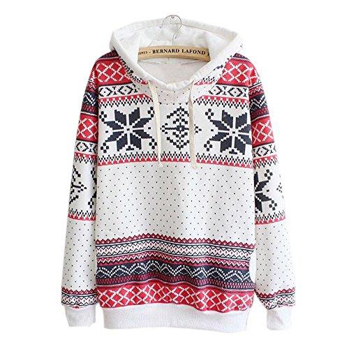 Sinma Women Christmas Snow Hoodie, Geometric Pattern Pullover Sweatshirt (XL) (No Hassle Linen Shirt Jacket)