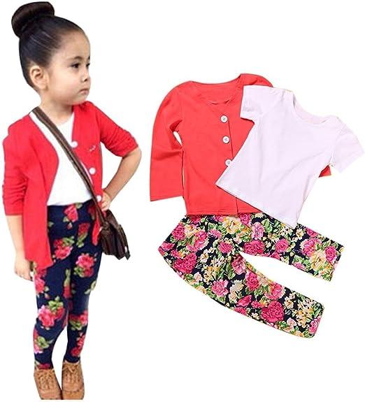 1Set Kids Toddler Girls Warm Long Sleeve T-Shirt Tops+Coat+Pants Clothes Outfits
