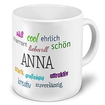 Positive Eigenschaften Tasse mit Namen Anne