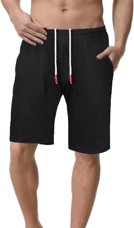 iClosam Hombre Pantalones Cortos Plisados del algodón para Entrenamiento y Jogging Deportivo Fitness Cintura con cordó