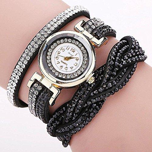 Hunputa Women Luxury Crystal Women Gold Bracelet Quartz Wristwatch Rhinestone Clock Ladies Dress Gift Watches (Black)