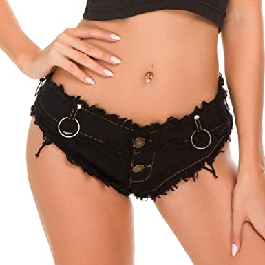 f5047ef768 Yollmart Womens Low Rise Mini Denim Shorts Denim Thong Cheeky Jeans  Shorts-Black-2