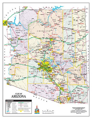 State of Arizona Notebook Map Gloss Laminated - 10 Count