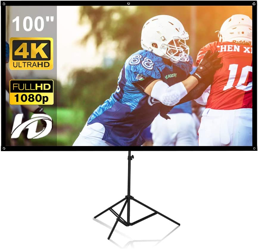 Projector Screen with Stand, 4k HD 16:9 Projector Screen Foldable Anti-Crease Portable Projector Movie Screen for Outdoor Indoor Home Theater Backyard Cinema Outdoor Projector Screen (100 Inch)