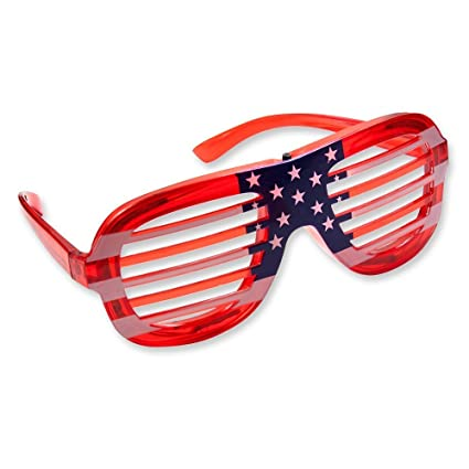 4957a7a6dc7 Amazon.com  1 Pair of USA American Flag July 4 th LED Flashing Light Up  Party Shades Glasses  Toys   Games