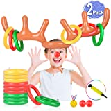 2 Set Inflatable Reindeer Antler Game (2 Reindeer Antler Hat with 12 Ring Toss, 2 Red Reindeer Nose, 1 Medal and 1 Hand…