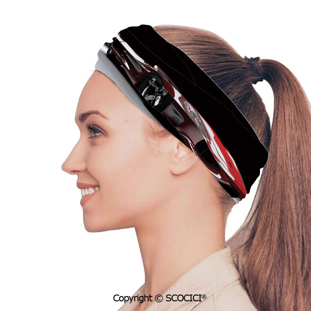 SCOCICI Stretch Soft and Comfortable W9.4xL18.9in Headscarf Headbands Automotive Industry Theme Powerful Engine Fast Technology Prestige Performance Decorative,Red Black White Perfect for Running, W