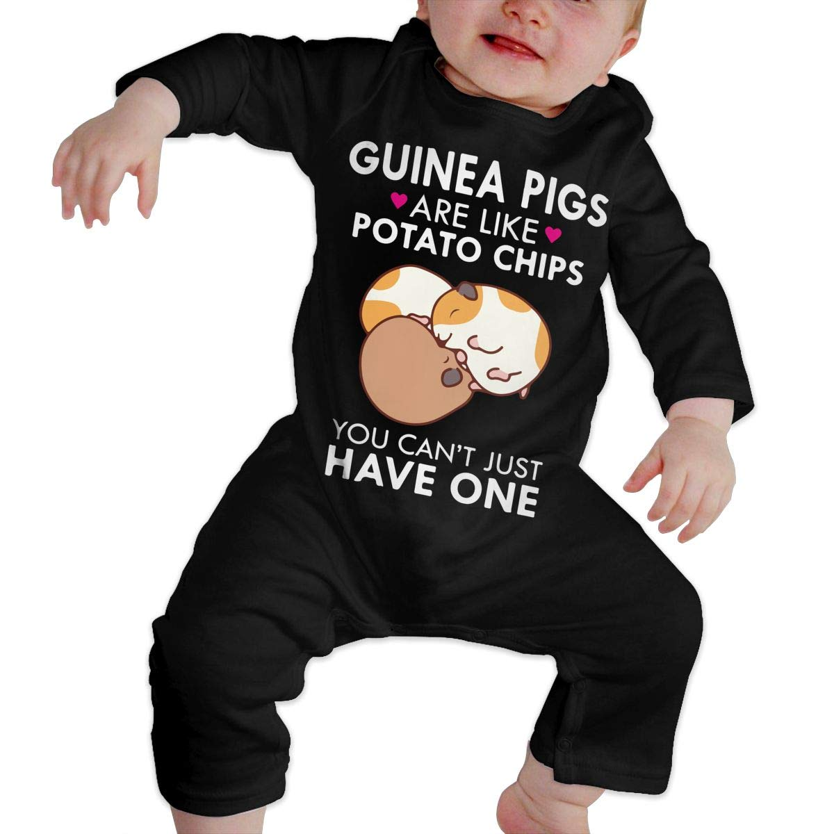 4066af12efb Amazon.com: Baby Boys Round Collar Guinea Pigs are Like Potato Chips Long  Sleeve Playsuit 100% Cotton, Suit 6-24 Months: Clothing