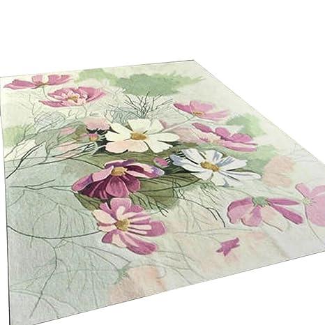 Rollsnownow Moderno Abstract Alfombras alfombrillas Alfombras Mesa de café Alfombras Rosa material mullido Rectangular flores de corte ...