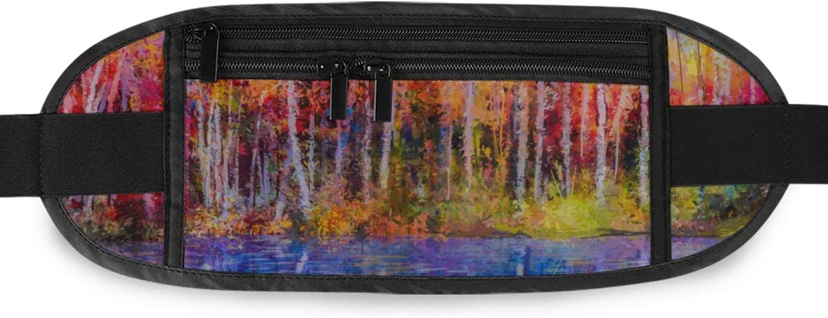 Oil Painting Colorful Autumn Trees Semi Running Lumbar Pack For Travel Outdoor Sports Walking Travel Waist Pack,travel Pocket With Adjustable Belt