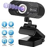 HD Webcam, EIVOTOR PC Webcam 720P USB Mini Computer Camera Built-in Mic, Flexible Rotatable Clip, for Laptops and Desktop, Black