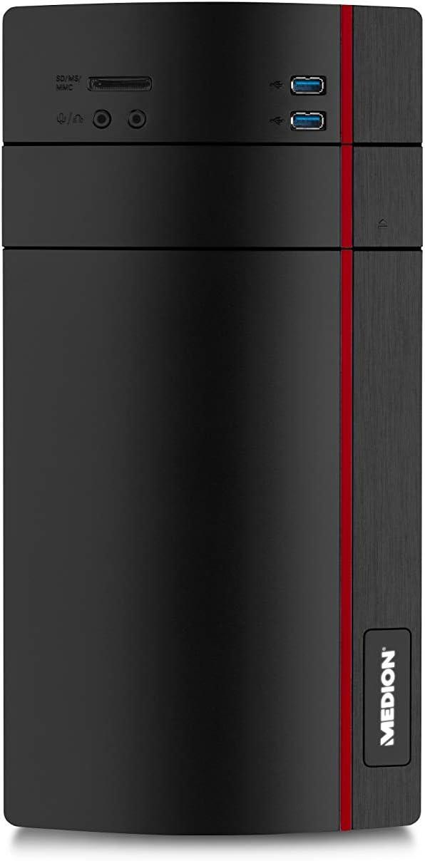 MEDION P10-Plong - Ordenador de sobremesa (Intel Pentium Silver J5005, 8 GB RAM, 1 TB HDD, Intel UHD Graphics 605, Windows 10 Home) Negro y Rojo