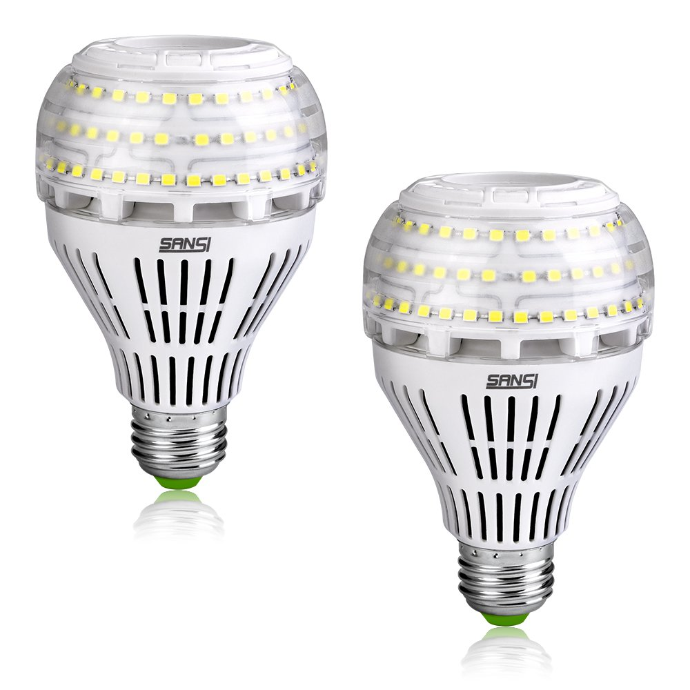 [Upgrade] 27W (250 Watt Equivalent) A21 Omni-directional Ceramic LED Light Bulbs, 4000 Lumens, 5000K Daylight, E26 Medium Screw Base Floodlight Bulb, Home Lighting, Non-dimmable, SANSI (2 PACK)