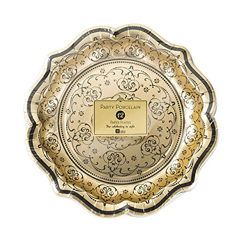 Talking Tables PPBQ-PLATE-MED Porcelain Baroque Paper Foiled Party Plates (12 Pack), 8.5