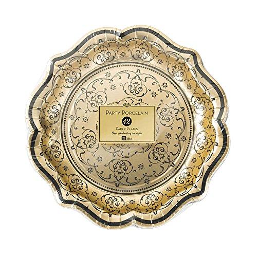 Talking Tables Porcelain Baroque Paper Foiled Party Plates, 12 count, 8.5