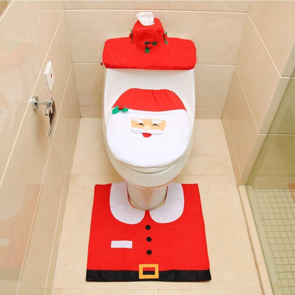 per Casa Centro Commerciale/—Rosso+Bianco Hotel Ziyero 3 Pz Motivo Babbo Coprisedili per WC Lavabile Coprisedile per WC Natalizio Decorazioni Set Babbo Natale Tema Bagno Decorazione Set Antiscivolo