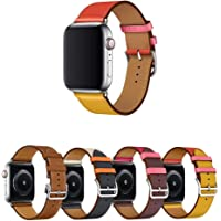 Pulseira de Couro Single Tour para Apple Watch 44mm e 42mm - Marca Ltimports (Amber/Yellow/Red)