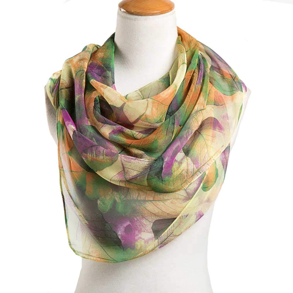 Print Silk Feeling Scarf Fashion Scarves Lightweight Shawl Scarf Sunscreen Shawls for Womens (Green 3#) by Baumor (Image #2)