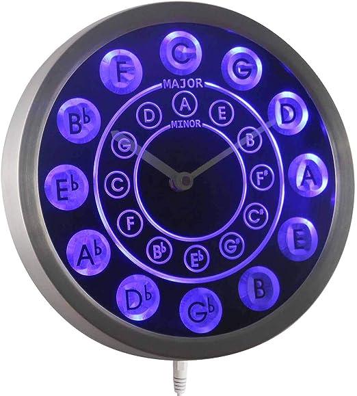 nc0945-b Círculo de fifths Música de la guitarra Letrero De Neón LED reloj de pared: Amazon.es: Hogar
