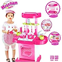 Vikas gift gallery Luxury Kitchen Play Set Super Toy for Kids, Big Size Portable Suitcase Shape Musical Kitchen Set Toy for Kids with Light and Accessories