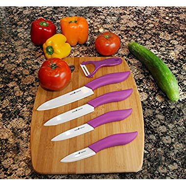 Pegasus Essentials Ceramic Knife Set 9-Piece, Best Quality, Ultra-sharp and Ergonomic Design (Purple)
